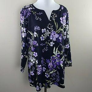 Women's Karen Scott Sz XL Black Floral Top